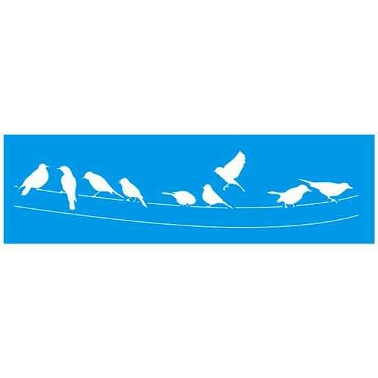 Stencil Litoarte 8,4x28,5 STE-235 Pássaros no Fio