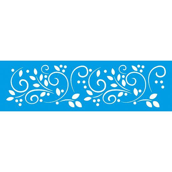 Stencil Litoarte 8,4x28,5 STE-229 Folhagem com Arabesco