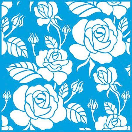 Stencil Litoarte Rose Ferreira 20 X 20 Cm - STXX-041 Estampa de Rosas