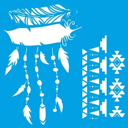 Stencil Litoarte Rose Ferreira 20 X 20 Cm - STXX-059 Penas, Estampa Tribal Sobreposção