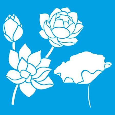Stencil Litoarte Rose Ferreira 20 X 20 Cm - STXX-061 Rosas, Lótus e Flores