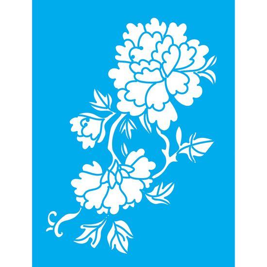 Stencil Litocart 20x15 LSM-070 Flores e Folhas