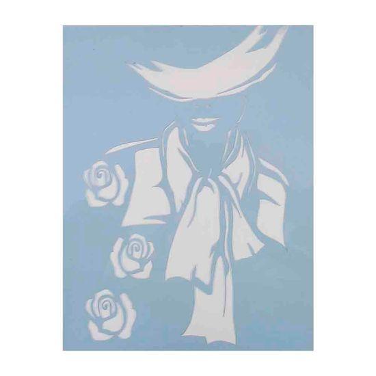 Stencil Litocart 25x20 LSG-013 Mulher e 3 Rosas