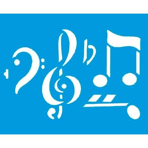 Stencil Médio Notas Musicais 17,2x21,1 STM-007 Litoarte
