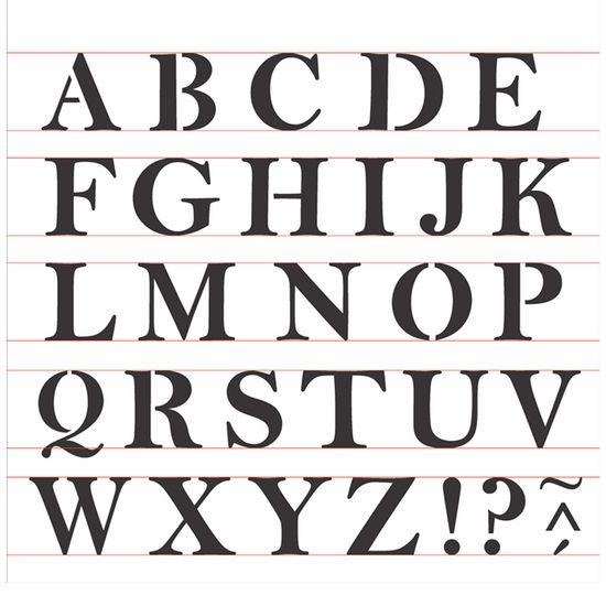 Stencil OPA 30,5x30,5 2516 Alfabeto Reto Maiúsculo