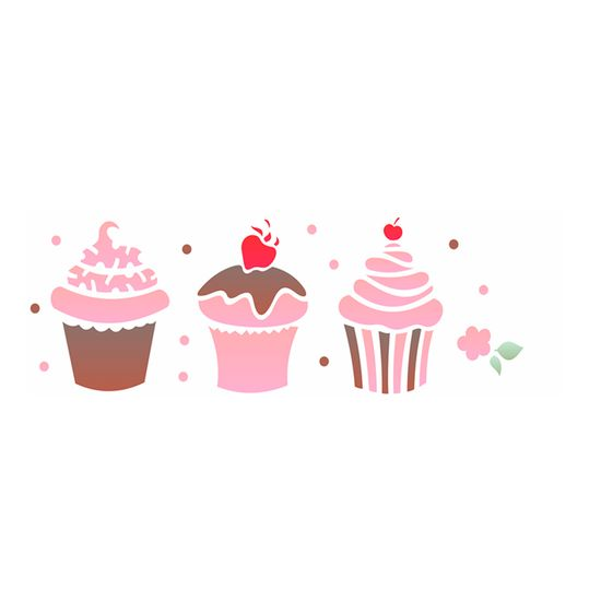 Stencil OPA 10x30 1866 Doces Cupcakes