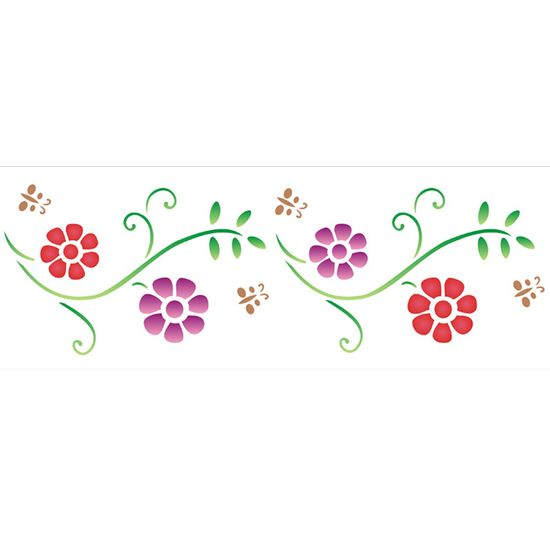 Stencil OPA 10x30 966 Flores Princesas III