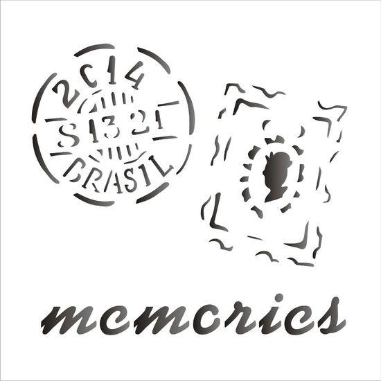 Stencil OPA 14x14 1369 Memories Selos