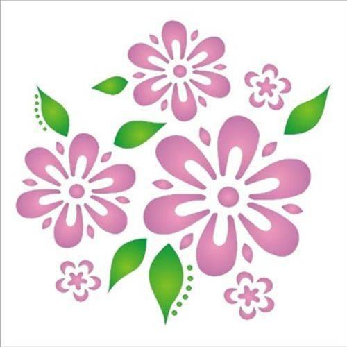 Stencil Opa 14x14 Flores e Folhas 1056