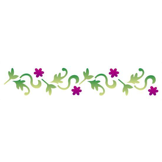 Stencil OPA 6x30 1126 Folhas e Flores