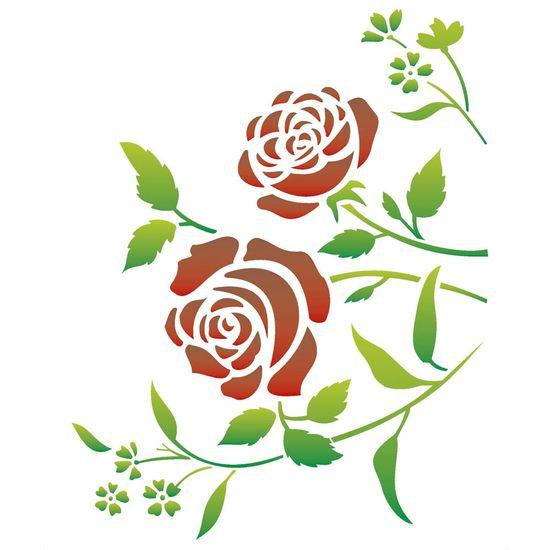 Stencil OPA 32x42 1422 Flores Roseira