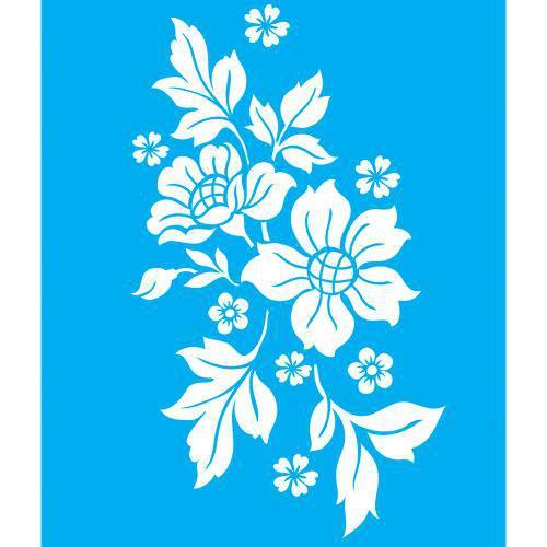 Stencil para Pintura 20x15 Flores e Folhas Lsm-021 - Litocart