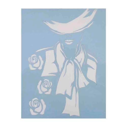 Stencil para Pintura 25x20 Mulher e 3 Rosas Lsg-013 - Litocart