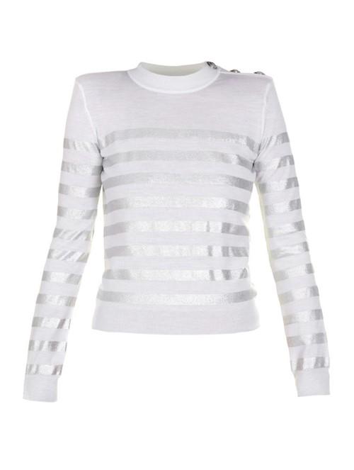 Suéter Botões Listrado Branco e Prateado Tamanho 38