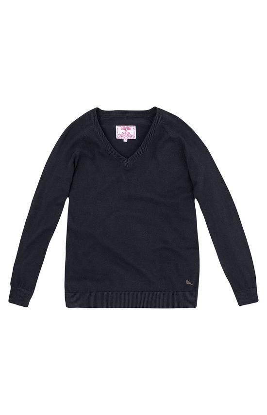 Suéter em Tricô Decote V Enfim Preto - G