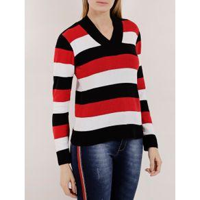 Suéter Feminino Preto/vermelho M