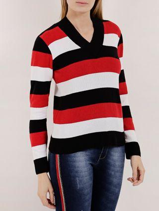Suéter Feminino Preto/vermelho