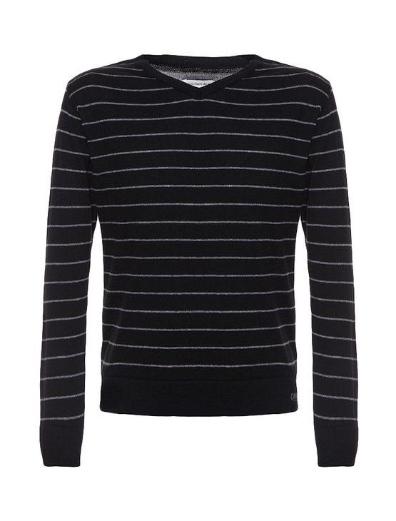 Suéter Infantil Calvin Klein Jeans Listrado e Logo Frontal Preto - 4