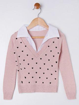 Suéter Infantil para Menina - Rosa