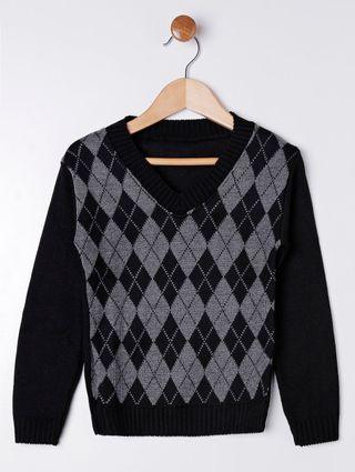 Suéter Infantil para Menino - Cinza/preto