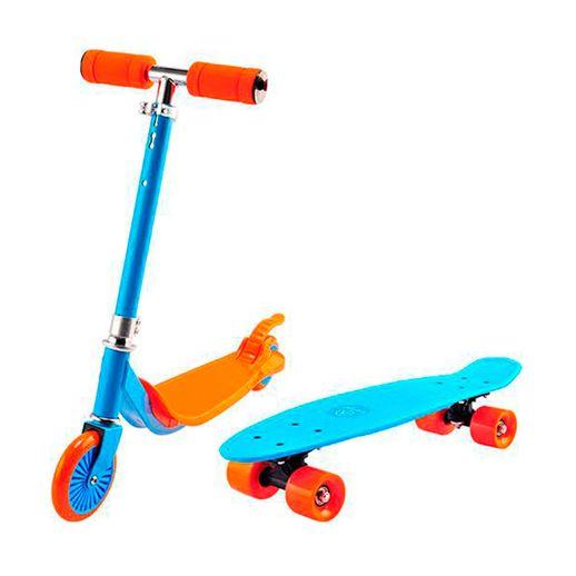 Super Combo Patinete e Skate Azul e Laranja - Astro Toys