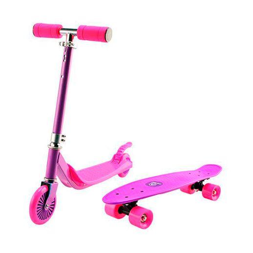 Super Combo Patinete e Skate Rosa e Roxo - Astro Toys