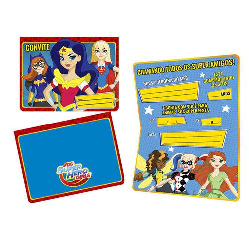 Super Hero Girls Convite C/8 - Regina