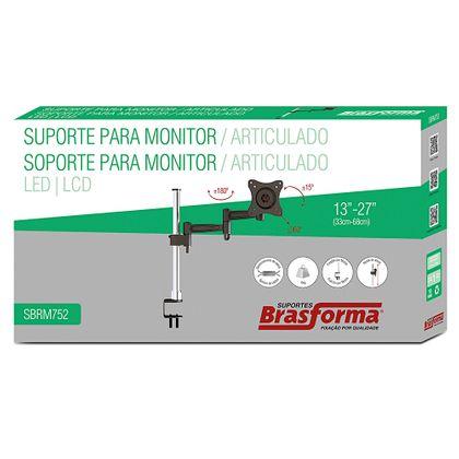 """Suporte Articulado para Monitor de LED e LCD de 13"""" a 27"""" - SBRM752"""