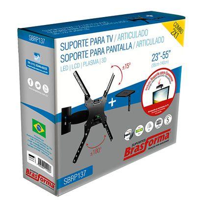 """Suporte Articulado Smart TV de LED 3D, LCD 23"""" a 55"""" - SBRP137"""