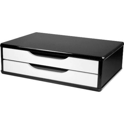 Suporte P/ Monitor C/2 Gavetas Black Piano C/ Branco 3348 Souza (Mdf)