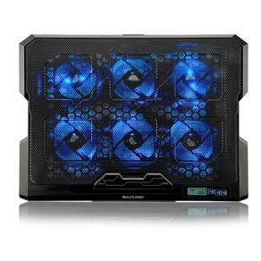 """Suporte P/ Notebook Até 17"""" C/ 6 Coolers Led Azul Multilaser AC282"""