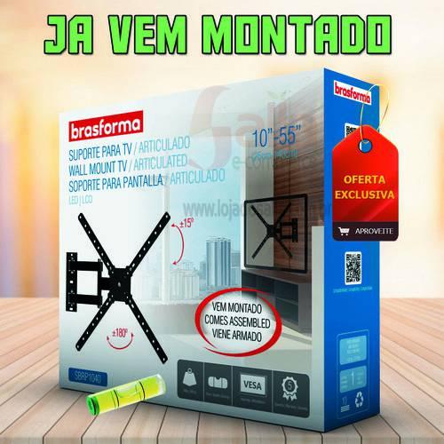 Suporte Tv LCD Led 4k 10 a 55 Pol Montado Tri Articulado SBRP1040 Brasforma com Nível