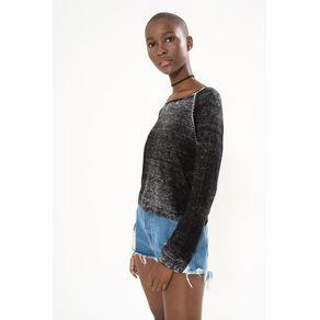 Sweater Básico Washed Preto - M