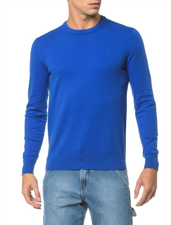 Sweater Ckj Masculino Logo - Azul Royal Sweater Ckj Masculina Logo Azul Royal - P