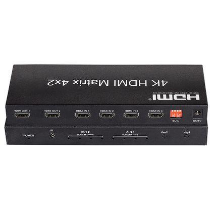 Switch HDMI 4x2 com Controle – 2K, 4K, 3D e Full HD
