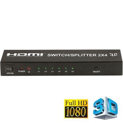 Switch/Splitter Matrix 2x4 HDMI 3D Full HD