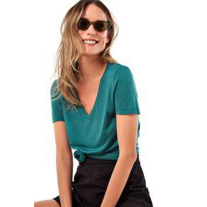 T Shirt Basica Decote V Verde - P