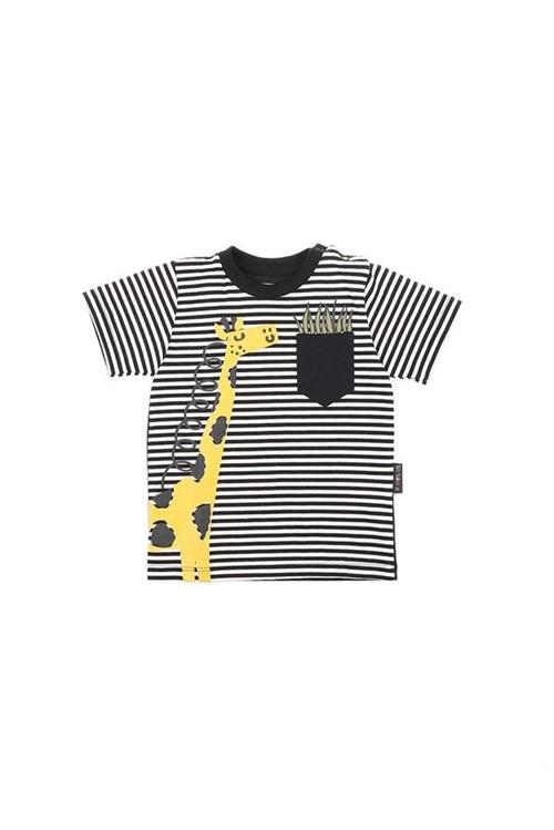 T-shirt Bebê Girafa M - Preto/cru