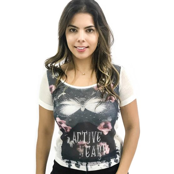 T-Shirt Borboleta Furadinha M