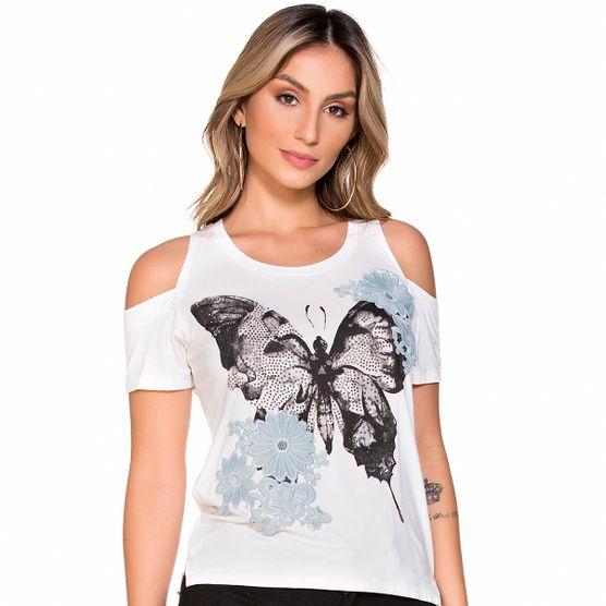 T-Shirt com Aplique e Strass P