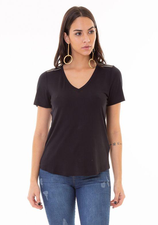 T-Shirt de Malha com Detalhe em Cristais no Ombro