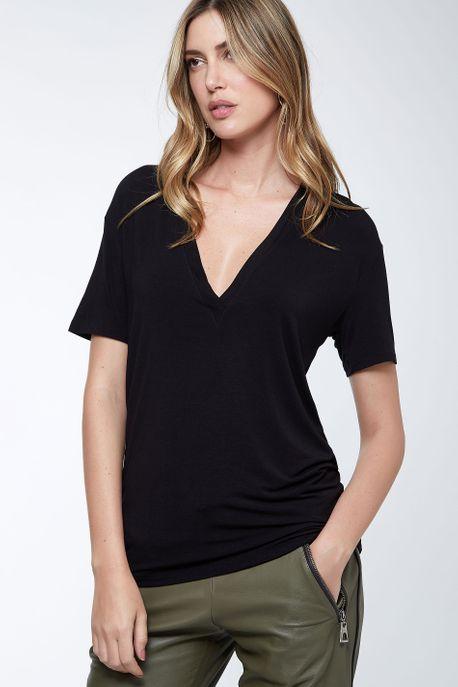 T-Shirt Decote Super V Preto - M
