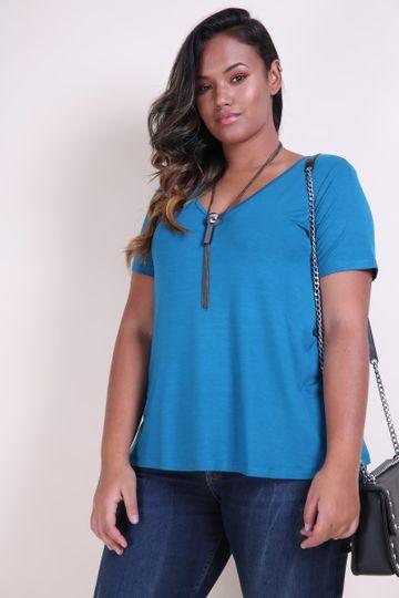 T-shirt Decote V Plus Size Azul EX