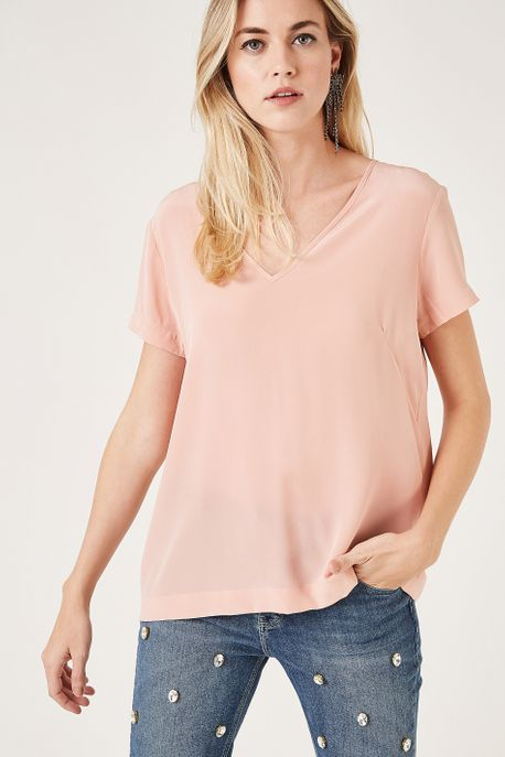 T-Shirt Decote V Rose - 38