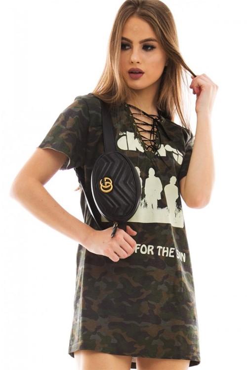 T-shirt Dress com Detalhe Trançado BL3880 - Kam Bess
