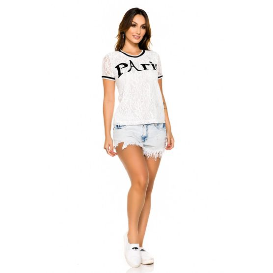 T-Shirt em Renda com Bordado Industrial G