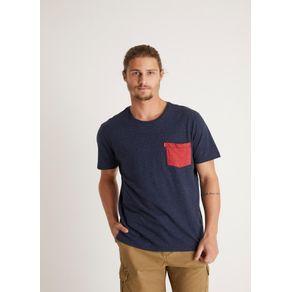 T-shirt Especial Botone Bolsinho Azul Marinho M