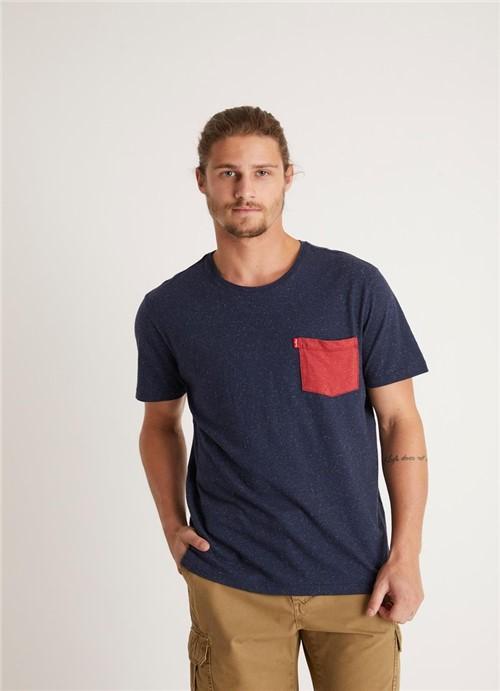 T-shirt Especial Botone Bolsinho Azul Marinho G