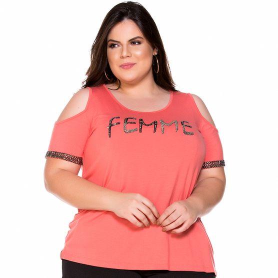 T-Shirt Femme Bordada Plus Size P