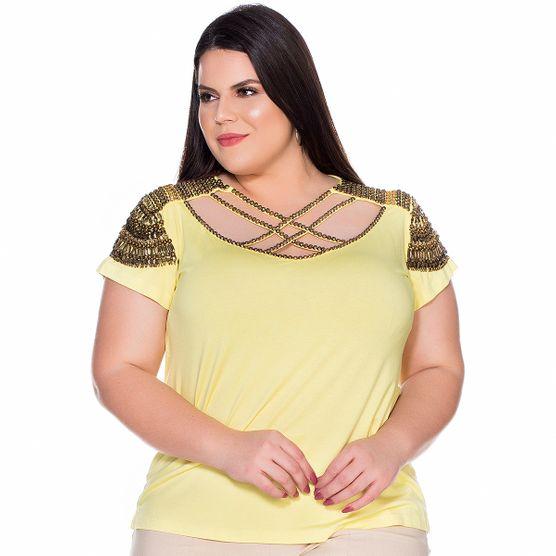 T-Shirt Frente em Pedrarias Plus Size G